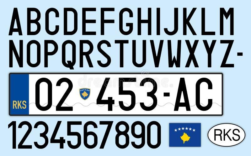 Piatto dell'automobile del Kosovo, lettere, numeri e simboli, Europa illustrazione vettoriale