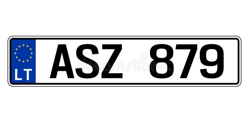 Piatto dell'automobile della Lettonia Numero di immatricolazione dei veicoli illustrazione di stock