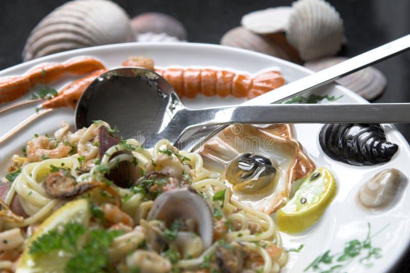 Piatto della pasta dei frutti di mare immagini stock