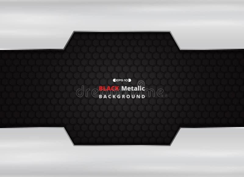 Piatto di alluminio su fondo metallico nero con scintillio dorato illustrazione di stock