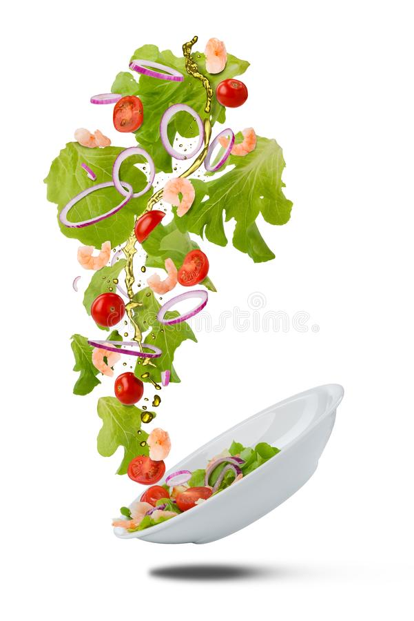 Piatto di caduta con insalata fresca fotografia stock libera da diritti
