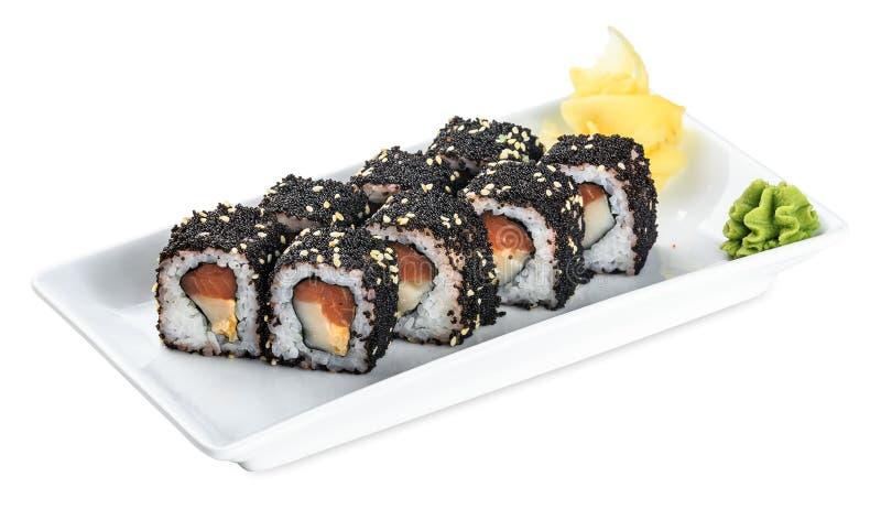 Piatto di causa di passera giapponese dei sushi - isolato su bianco immagine stock libera da diritti
