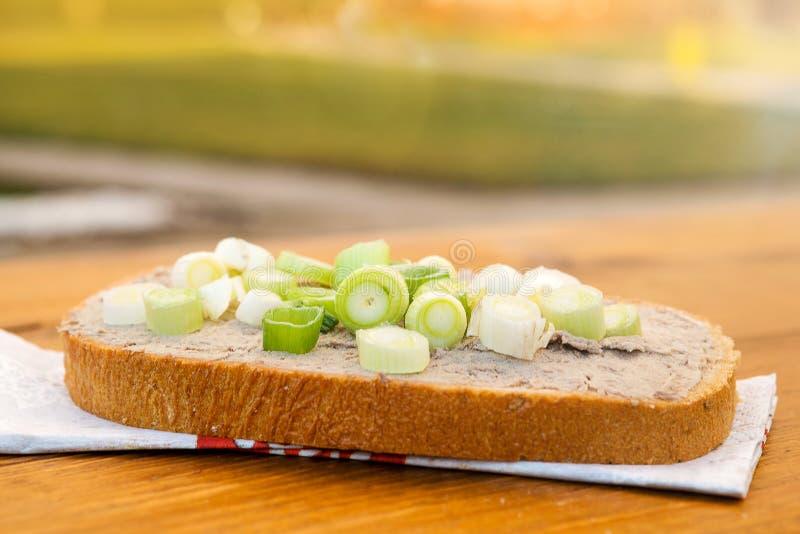 Piatto di fegato con pane immagini stock libere da diritti