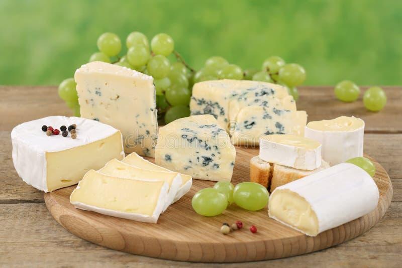 Piatto di formaggio con camembert, formaggio a pasta molle ed il brie fotografia stock libera da diritti