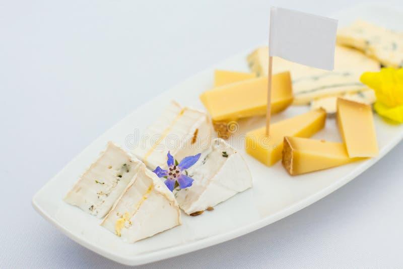 Piatto di formaggio con differenti generi di formaggio con i fiori immagini stock libere da diritti