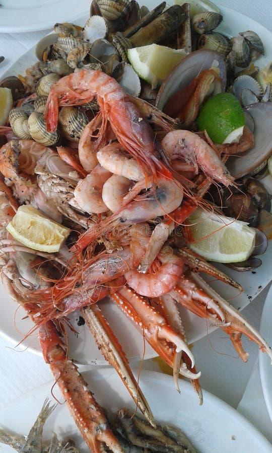 Piatto di frutti di mare differenti fotografia stock