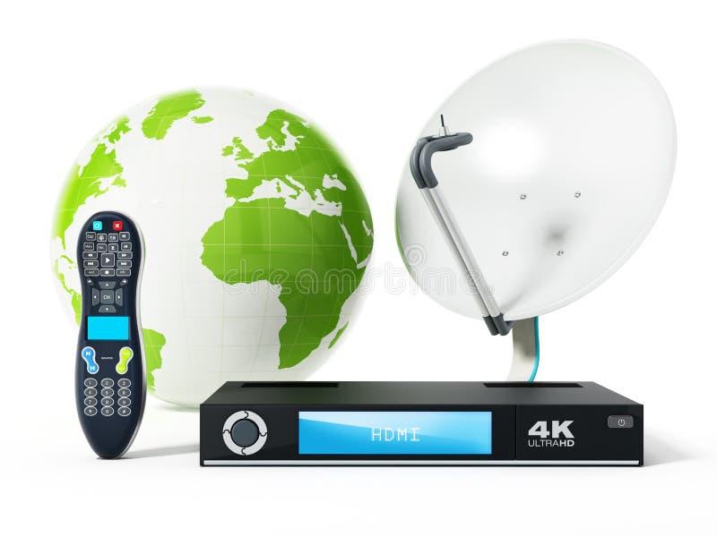 Piatto, di 4K ricevitore ultra HD, regolatore a distanza con il globo illustrazione 3D illustrazione di stock