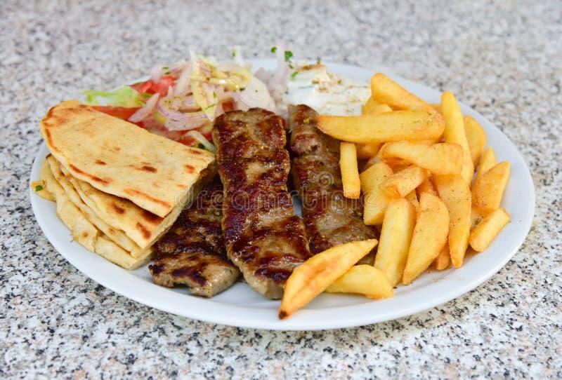 Piatto di kebab dell'agnello fotografia stock libera da diritti