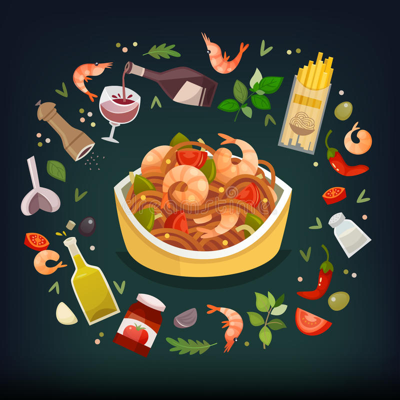 Piatto di marinara degli spaghetti royalty illustrazione gratis