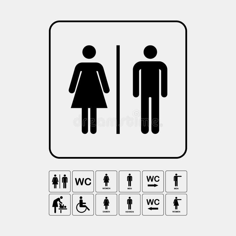 Piatto di parete della porta della toilette Icona originale del WC segno illustrazione di stock