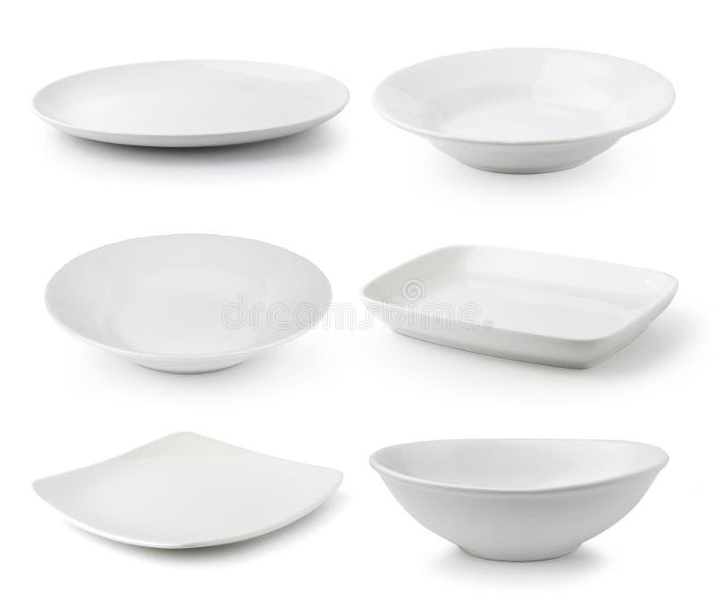 Piatto e ciotola bianchi della ceramica fotografie stock libere da diritti