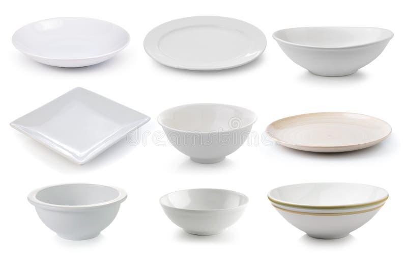 Piatto e ciotola della ceramica su fondo bianco immagini stock