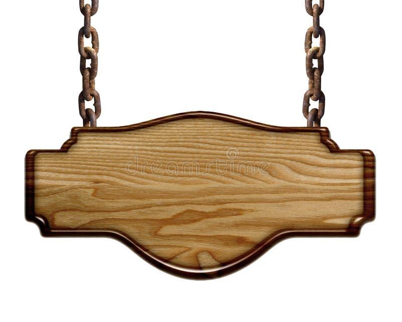 Piatto leggero di legno che appende sulle catene isolate su fondo bianco fotografie stock libere da diritti