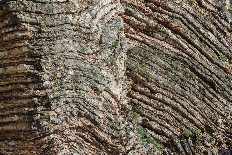Piatto litosferico della fetta che attacca alla superficie della terra Gli strati di pietra sono milioni di anni fotografie stock libere da diritti