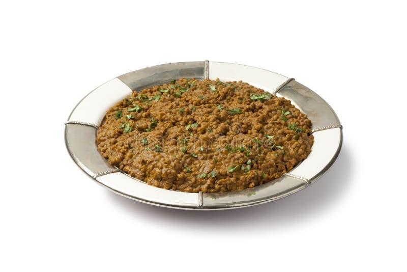 Piatto marrone marocchino delle lenticchie fotografie stock libere da diritti