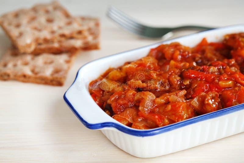Piatto portoghese di Bacalao fatto di merluzzo salato a secco immagini stock