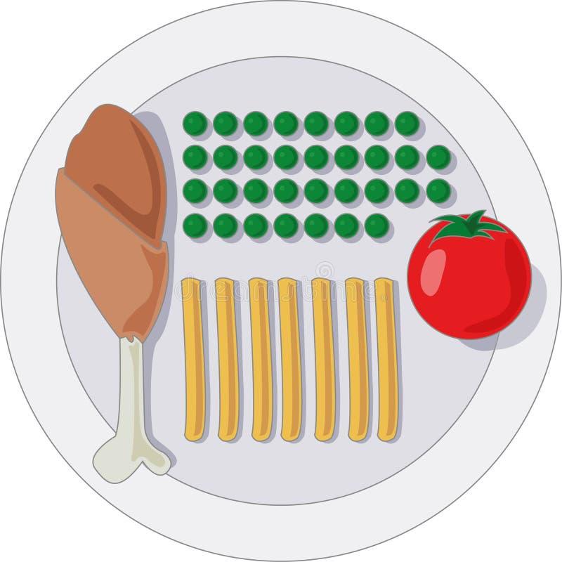 Piatto rigoroso dell'alimento di dieta illustrazione vettoriale