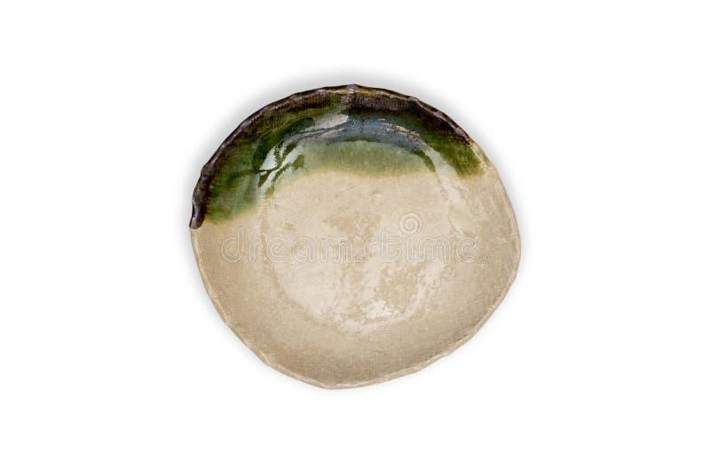 Piatto rotondo ceramico verde vista-vuoto superiore del piatto isolato su bianco fotografia stock libera da diritti