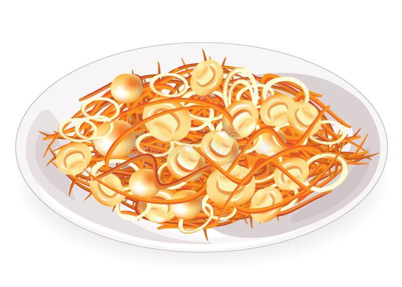 Piatto saporito Carote coreane con i funghi e le cipolle su un piatto Alimento sano dietetico, vegetariano, Illustrazione di vett royalty illustrazione gratis