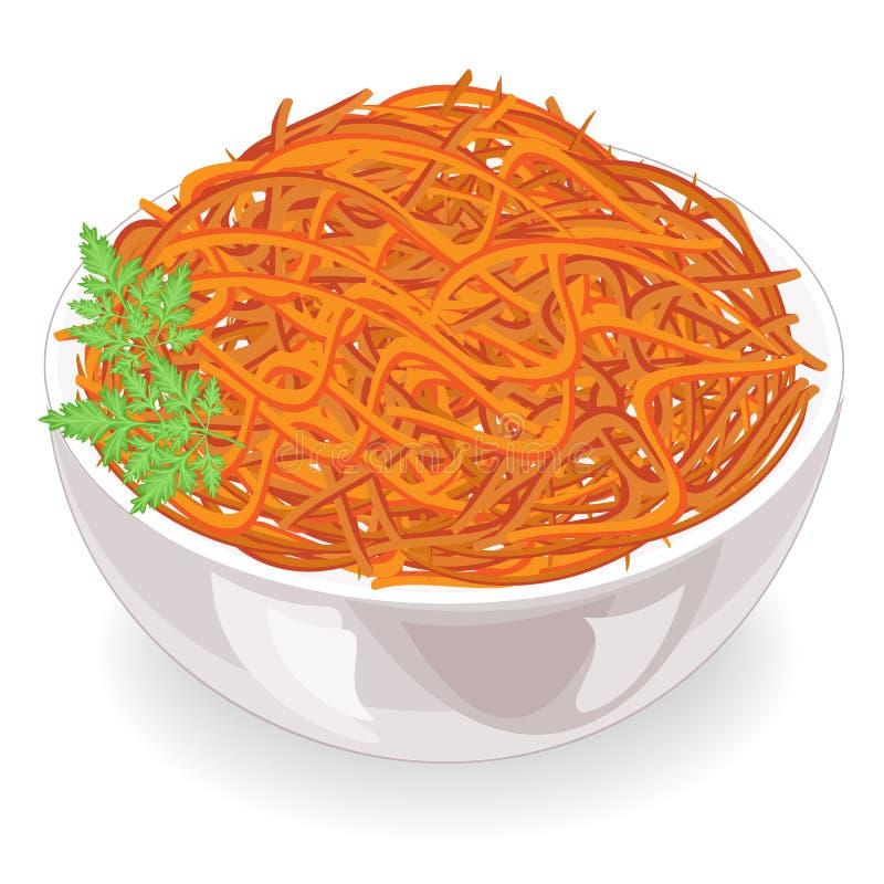 Piatto saporito Carote coreane con prezzemolo su un piatto Alimento dietetico, vegetariano, sano Illustrazione di vettore illustrazione vettoriale