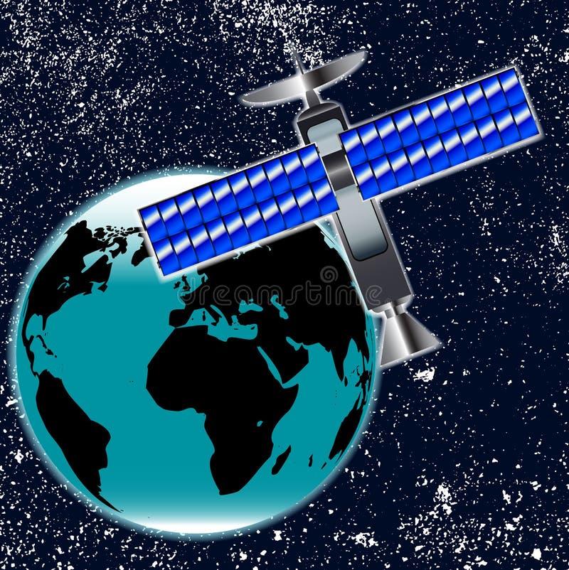 Piatto satellite di Transmition in orbita sopra terra royalty illustrazione gratis