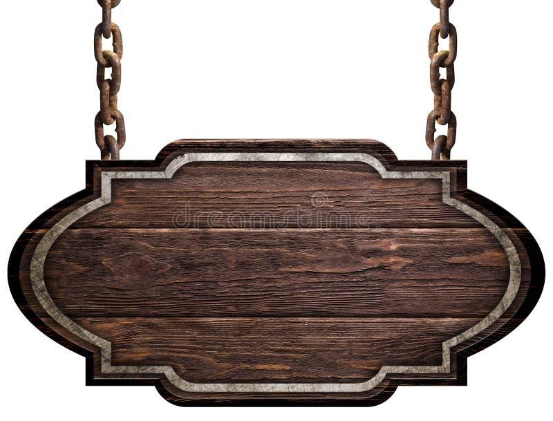 Piatto scuro con la striscia di metallo che appende sulle catene isolate su fondo bianco fotografia stock