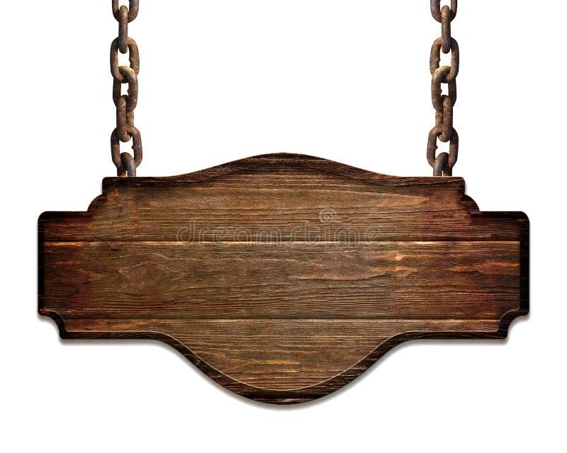 Piatto scuro di legno che appende sulle catene isolate su fondo bianco fotografia stock
