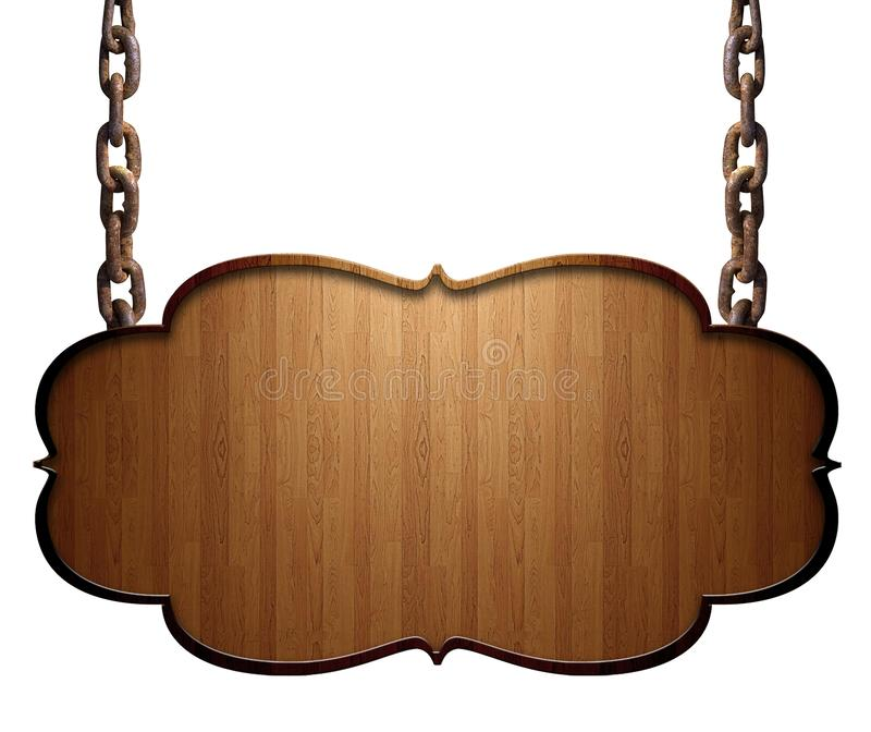 Piatto scuro di legno che appende sulle catene isolate su fondo bianco fotografie stock