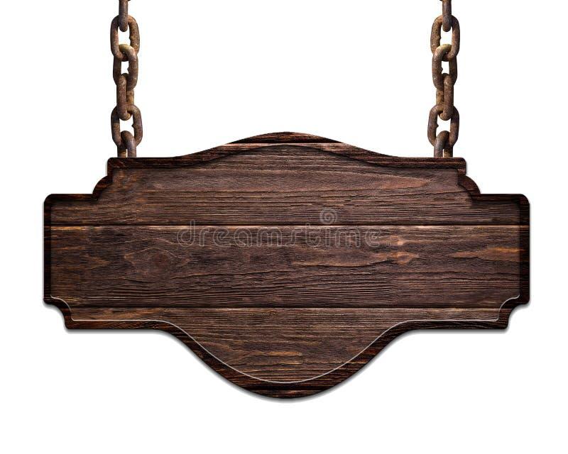 Piatto scuro di legno che appende sulle catene isolate su fondo bianco fotografie stock libere da diritti