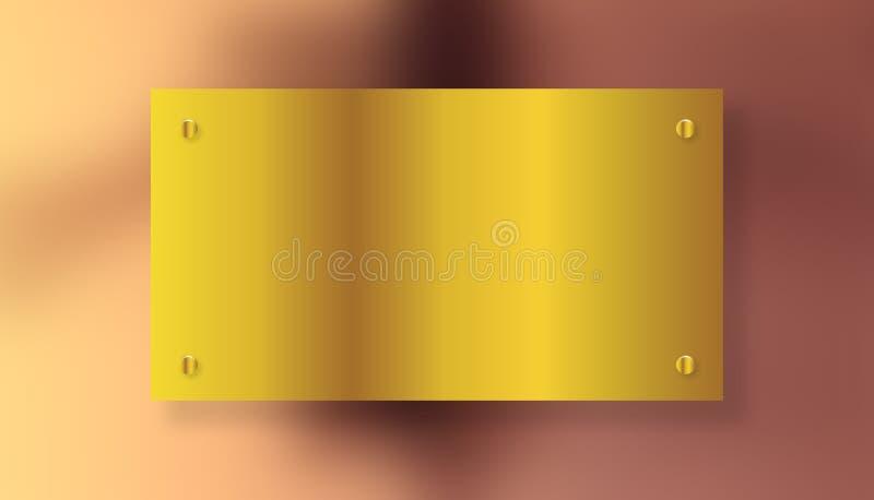 Piatto spazzolato brillante di giallo dell'oro del metallo con le viti - 21 LUGLIO 2017 illustrazione vettoriale