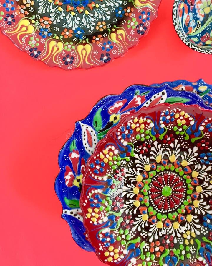 Piatto stampato mano turca immagini stock