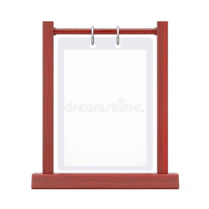 Piatto trasparente in bianco bianco di legno Flip Menu Card Holder della Tabella illustrazione di stock