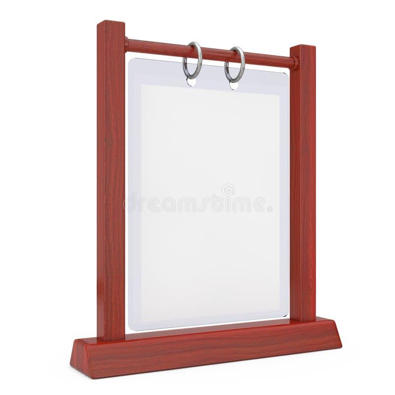 Piatto trasparente in bianco bianco di legno Flip Menu Card Holder della Tabella illustrazione vettoriale