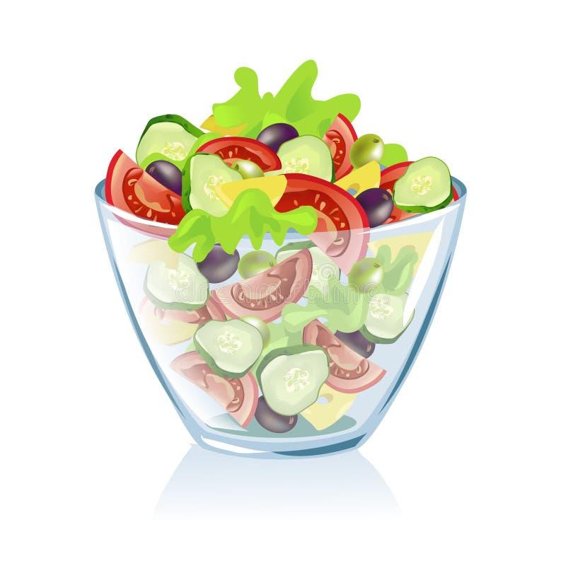 Piatto trasparente con le verdure royalty illustrazione gratis