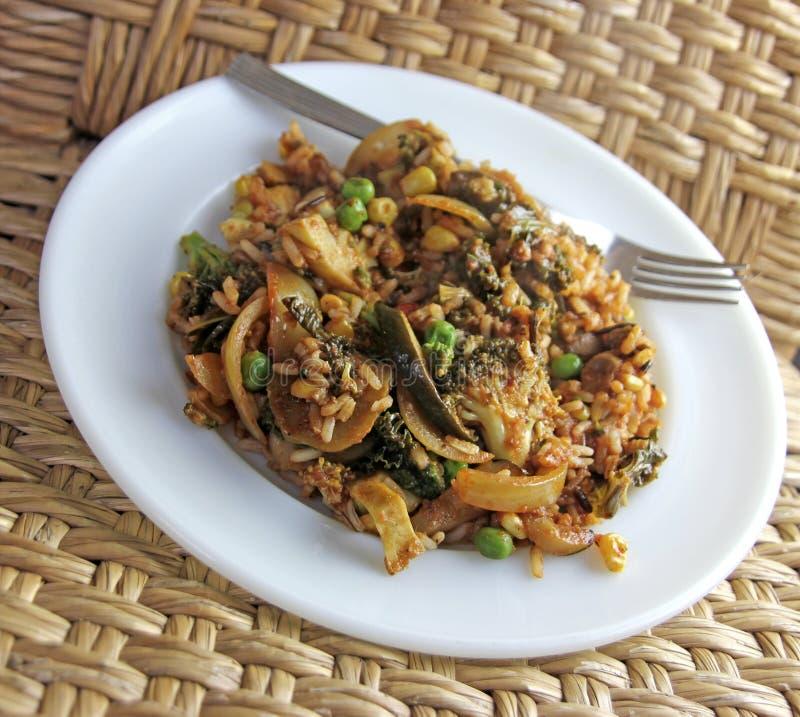 Piatto vegetali del riso del vegano con la forcella immagini stock libere da diritti
