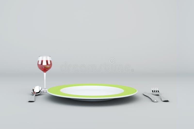 Piatto verde con vetro di vino rosso, della forchetta, del coltello e del cucchiaio fotografie stock