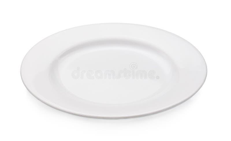 Piatto vuoto isolato su un fondo bianco immagine stock