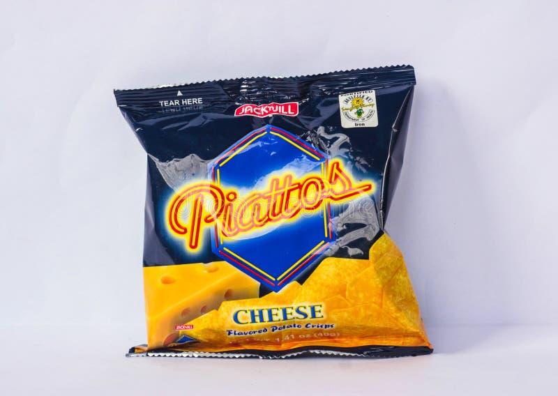 Piattos ost smaksatte chips vid stålar 'n Jill royaltyfria foton
