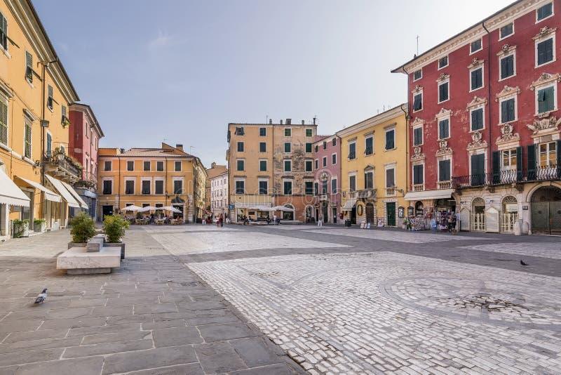 Piazza Alberica, Carrara, Toscanië, Italië stock foto's
