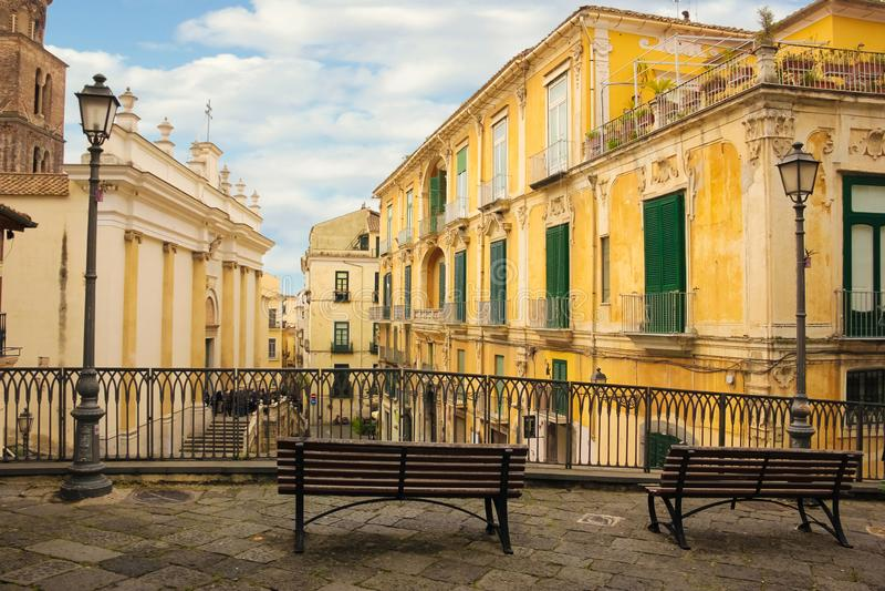 Piazza Alfano I street. Salerno. Italy. Piazza Alfano I street. The Cathedral on the left. Salerno. Italy stock photography