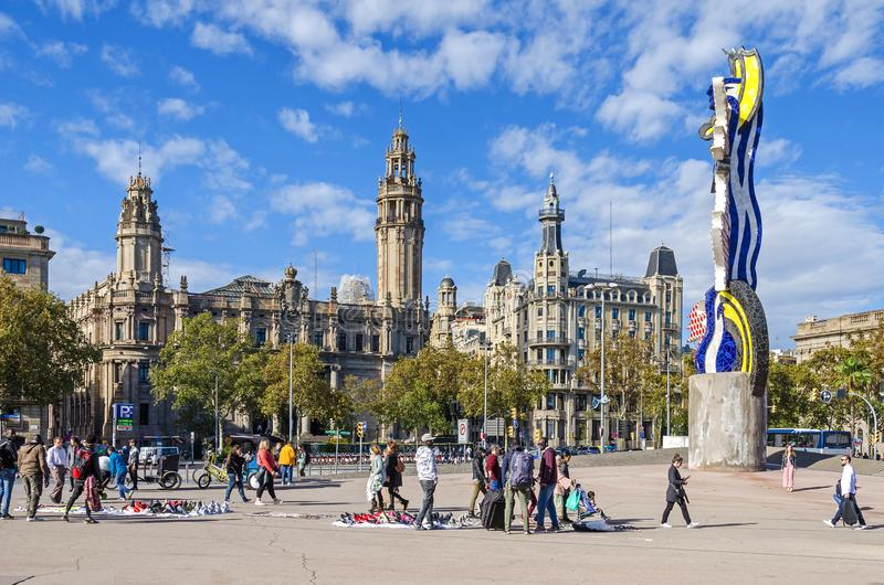 Piazza Antonio Lopez mit der Post und dem EL-Kappende Barcelona lizenzfreies stockfoto