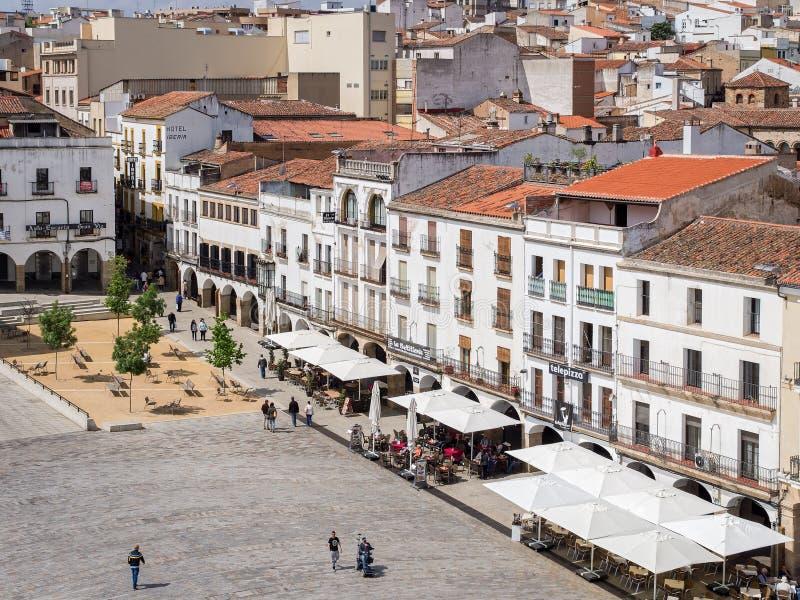 Piazza-Bürgermeister in Caceres, Spanien stockfoto