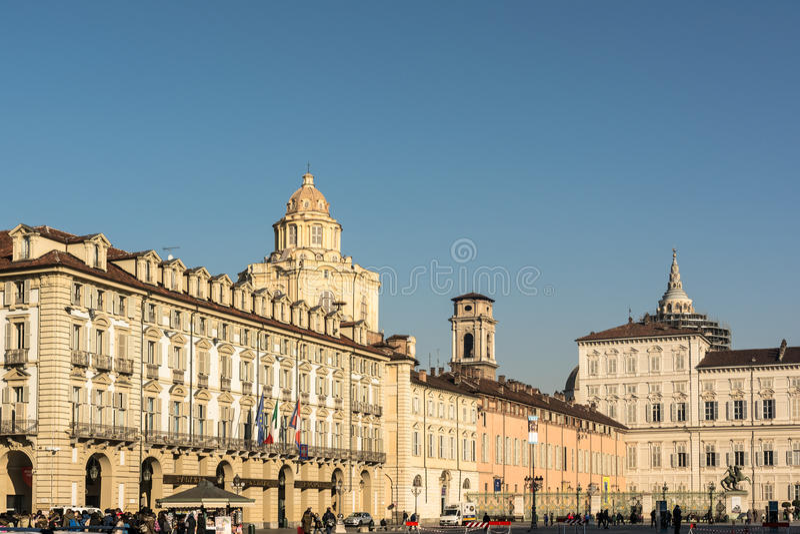 Piazza Castello i Turin, Italien royaltyfria foton