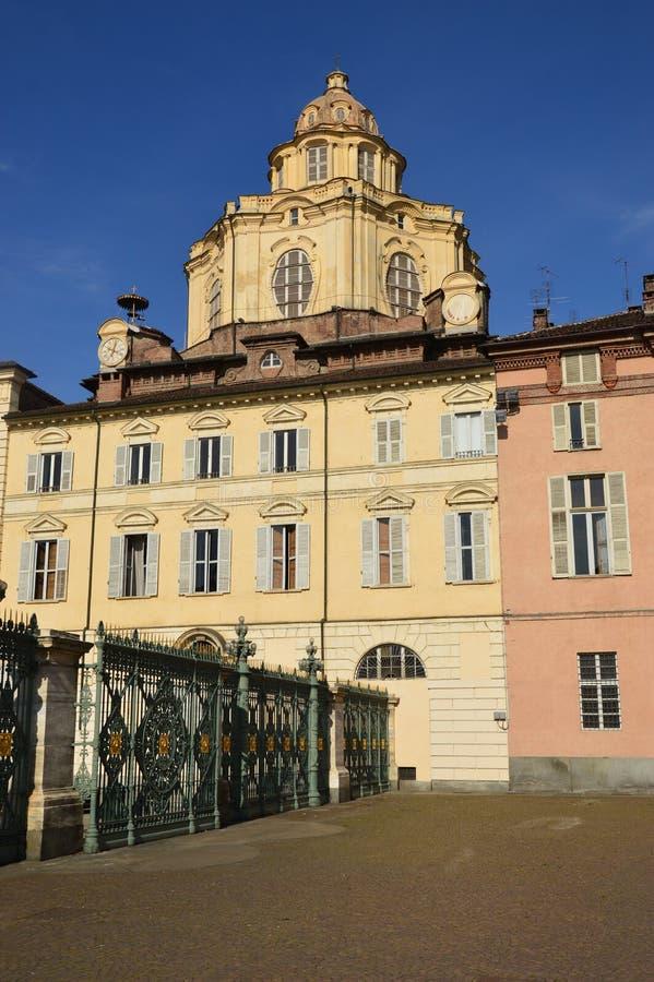 Piazza Castello i wymazujący Royal Palace w Turyn, Piedmo - zdjęcia stock