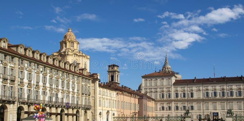 Piazza Castello, Turin. Piazza Castello, central baroque square in Turin, Italy stock photo
