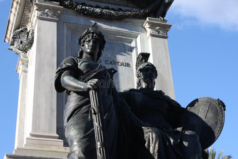 Piazza Cavour con il monumento di Cavour a Roma, Italia immagini stock libere da diritti