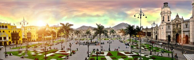 Piazza de Armas de Lima Peru stockbilder