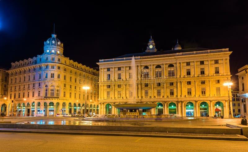 Piazza de Ferrari, το κύριο τετράγωνο της Γένοβας στοκ φωτογραφίες