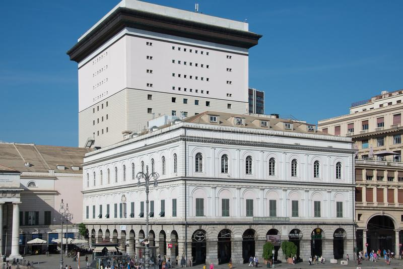 Piazza de Ferrari in Genoa and the Academy of fine arts. Piazza de Ferrari in Genoa, Italy the very center of the city. The Academy of fine arts and banks in royalty free stock image