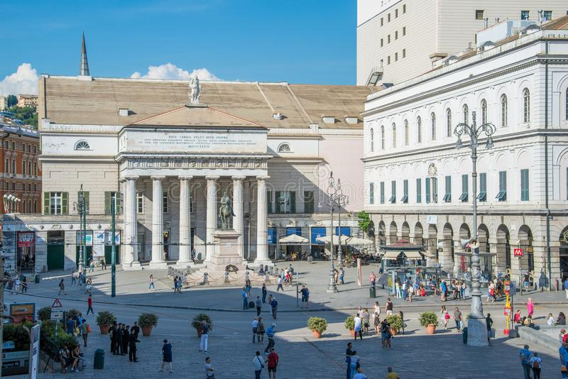 Piazza de Ferrari in Genoa and Carlo Felice the theater. Piazza de Ferrari in Genoa, Italy the very center of the city. The Academy of fine arts and banks in stock images